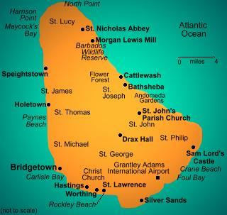 Turquoise Net Map Of Barbados - Tourist map of barbados
